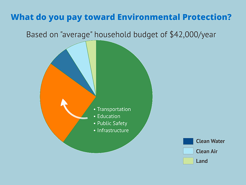 pie chart showing what portion of $42000 income goes towards environmental protection
